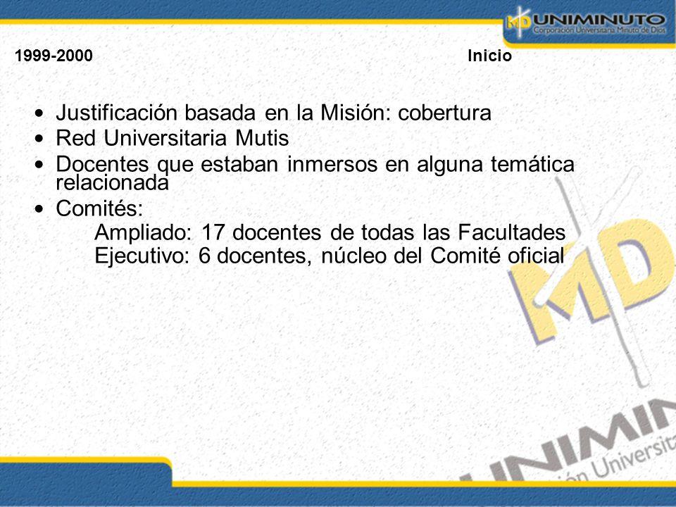 1999-2000Inicio Justificación basada en la Misión: cobertura Red Universitaria Mutis Docentes que estaban inmersos en alguna temática relacionada Comi
