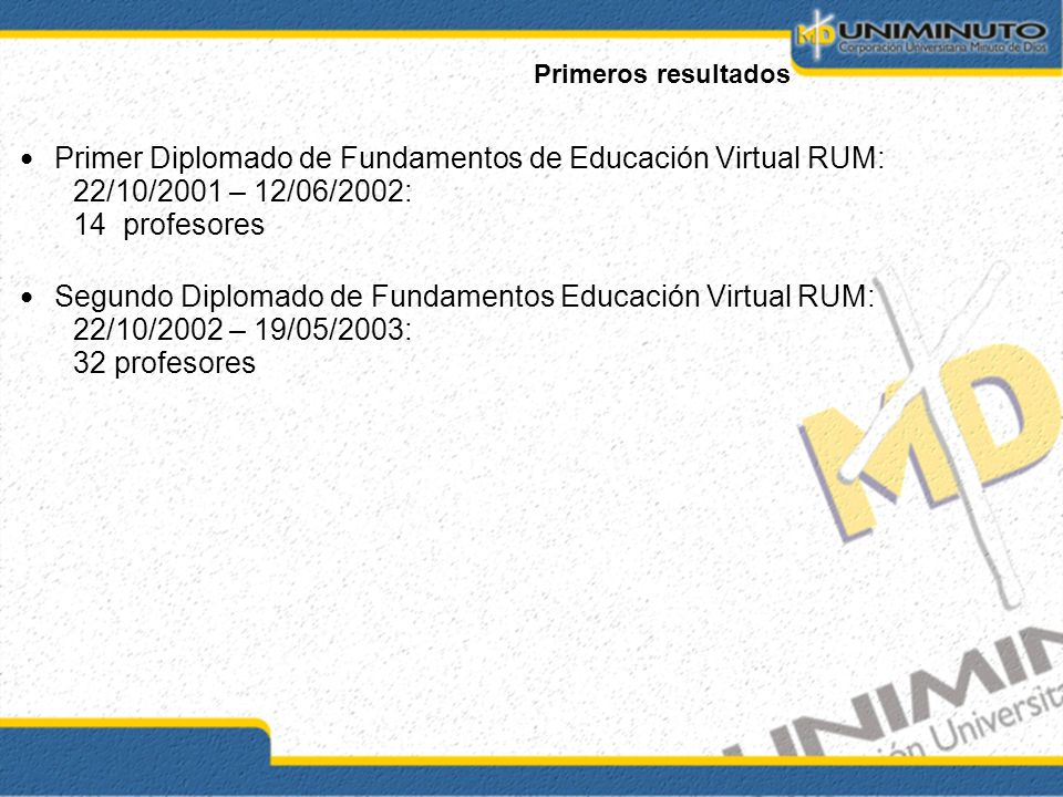 Primer Diplomado de Fundamentos de Educación Virtual RUM: 22/10/2001 – 12/06/2002: 14 profesores Segundo Diplomado de Fundamentos Educación Virtual RUM: 22/10/2002 – 19/05/2003: 32 profesores Primeros resultados