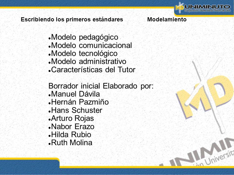Escribiendo los primeros estándaresModelamiento Modelo pedagógico Modelo comunicacional Modelo tecnológico Modelo administrativo Características del T