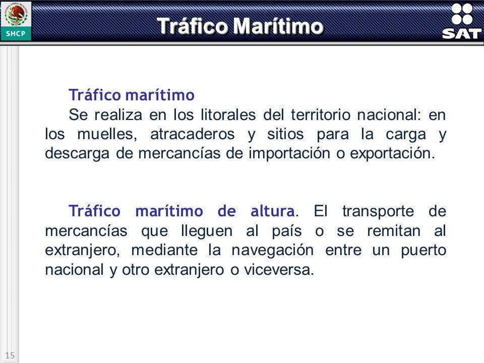 15 Tráfico Marítimo Tráfico marítimo Se realiza en los litorales del territorio nacional: en los muelles, atracaderos y sitios para la carga y descarg