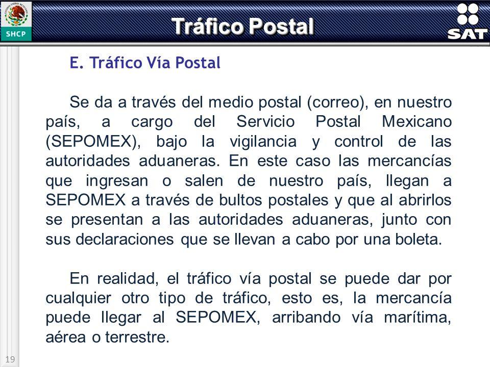 19 Tráfico Postal E. Tráfico Vía Postal Se da a través del medio postal (correo), en nuestro país, a cargo del Servicio Postal Mexicano (SEPOMEX), baj
