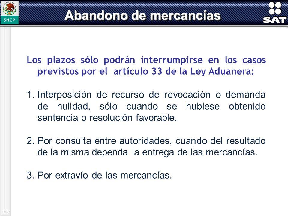 33 Abandono de mercancías Los plazos sólo podrán interrumpirse en los casos previstos por el artículo 33 de la Ley Aduanera: 1.Interposición de recurs