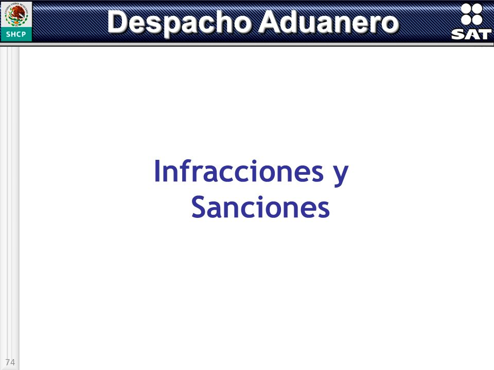 74 Despacho Aduanero Infracciones y Sanciones