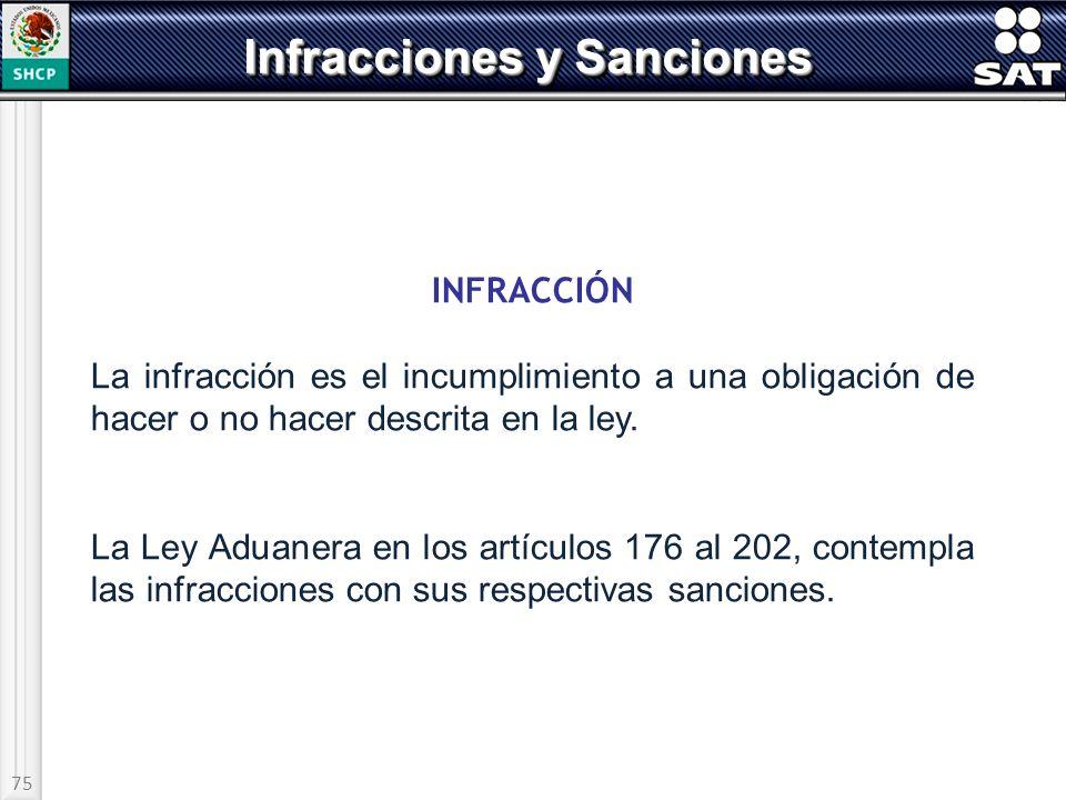 75 Infracciones y Sanciones INFRACCIÓN La infracción es el incumplimiento a una obligación de hacer o no hacer descrita en la ley. La Ley Aduanera en