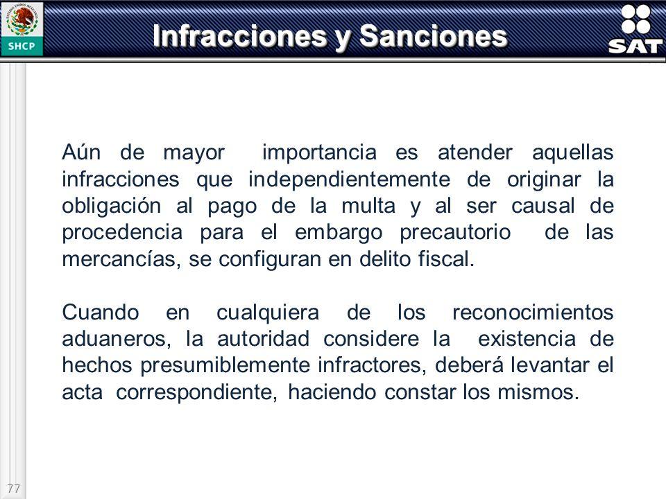 77 Infracciones y Sanciones Aún de mayor importancia es atender aquellas infracciones que independientemente de originar la obligación al pago de la m