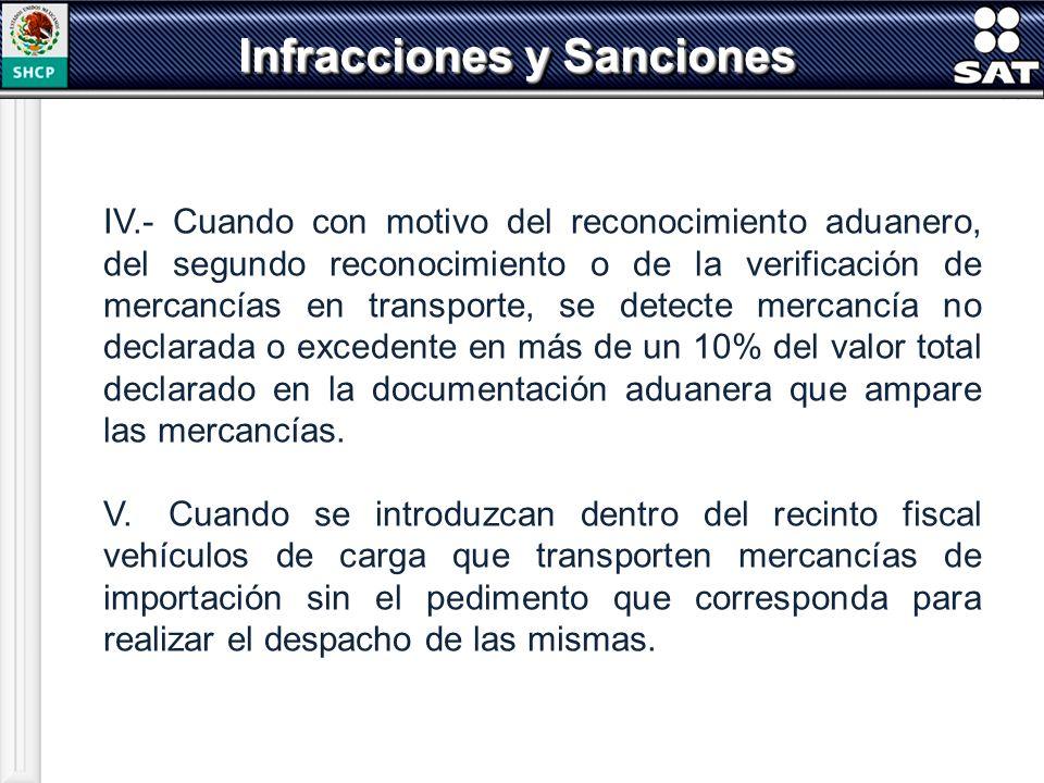 IV.- Cuando con motivo del reconocimiento aduanero, del segundo reconocimiento o de la verificación de mercancías en transporte, se detecte mercancía