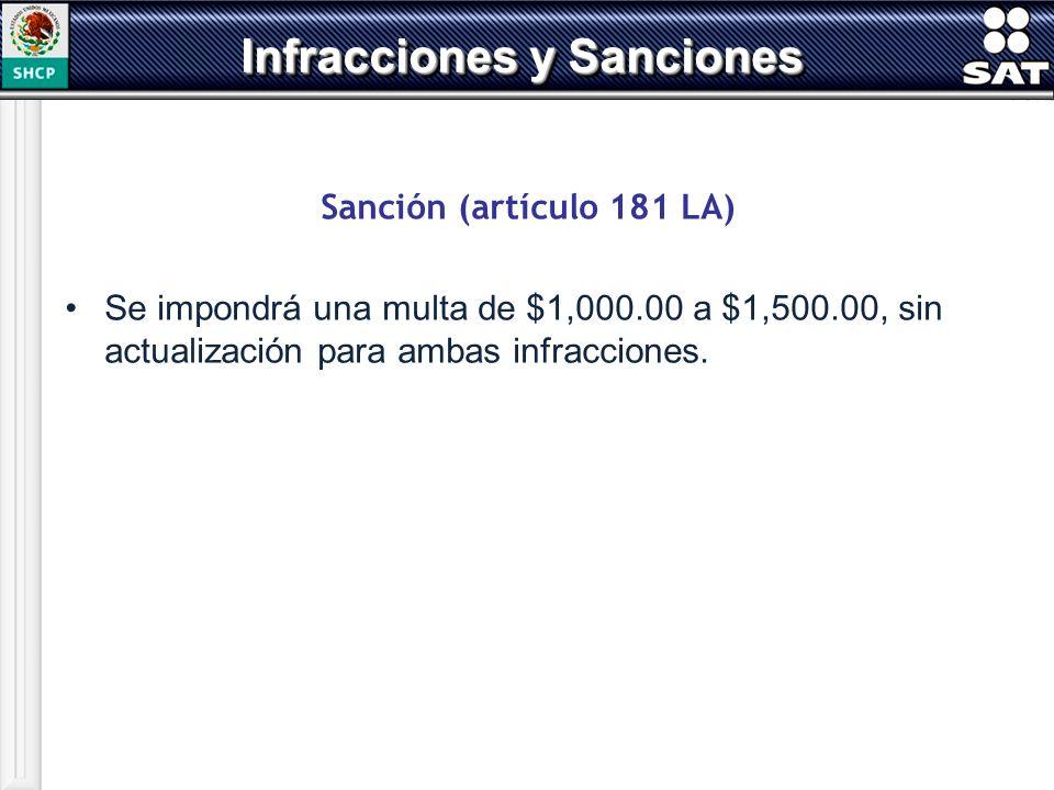 Sanción (artículo 181 LA) Se impondrá una multa de $1,000.00 a $1,500.00, sin actualización para ambas infracciones. Infracciones y Sanciones