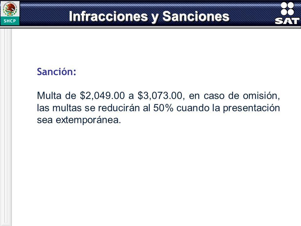 Sanción: Multa de $2,049.00 a $3,073.00, en caso de omisión, las multas se reducirán al 50% cuando la presentación sea extemporánea. Infracciones y Sa