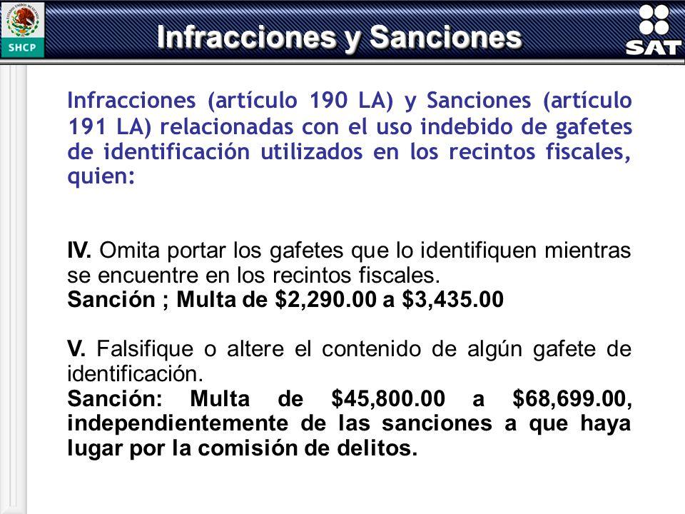 Infracciones (artículo 190 LA) y Sanciones (artículo 191 LA) relacionadas con el uso indebido de gafetes de identificación utilizados en los recintos