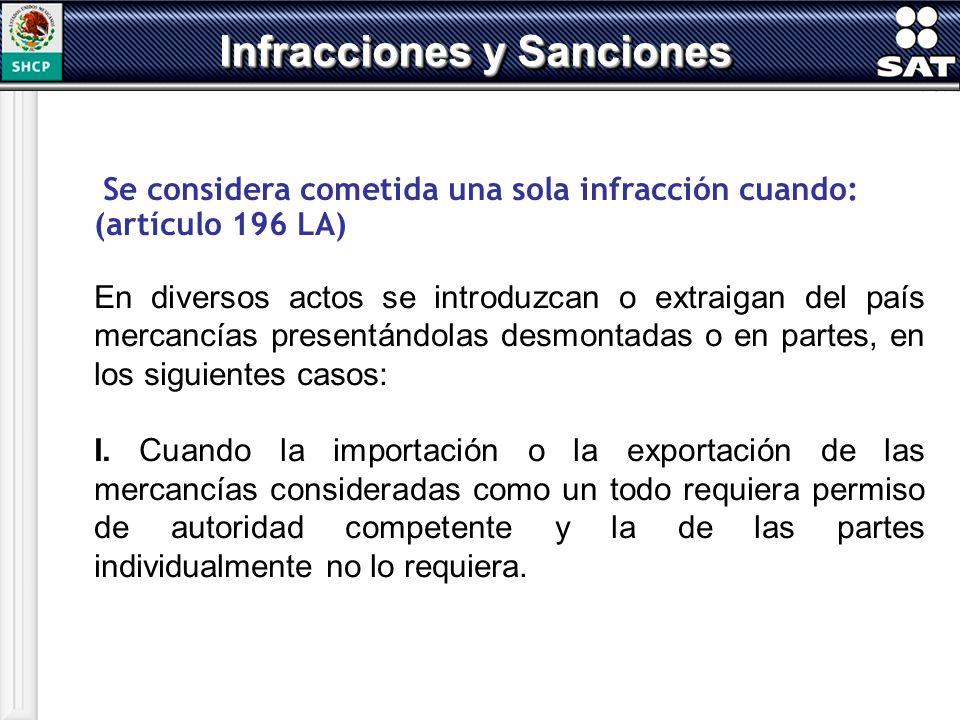 Se considera cometida una sola infracción cuando: (artículo 196 LA) En diversos actos se introduzcan o extraigan del país mercancías presentándolas de
