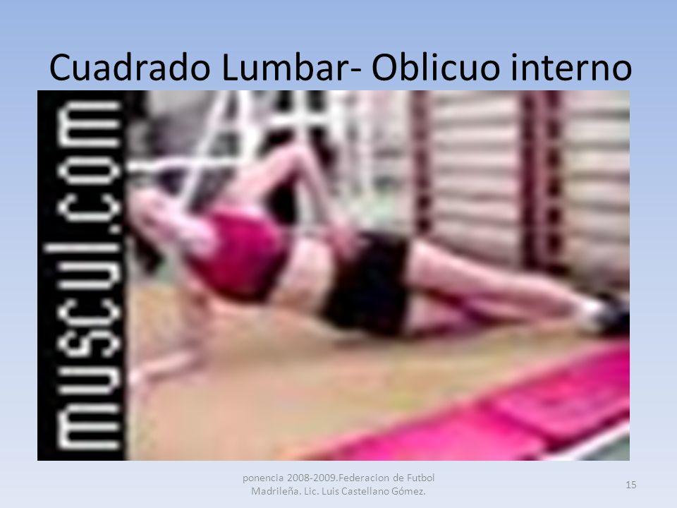 Cuadrado Lumbar- Oblicuo interno ponencia 2008-2009.Federacion de Futbol Madrileña. Lic. Luis Castellano Gómez. 15
