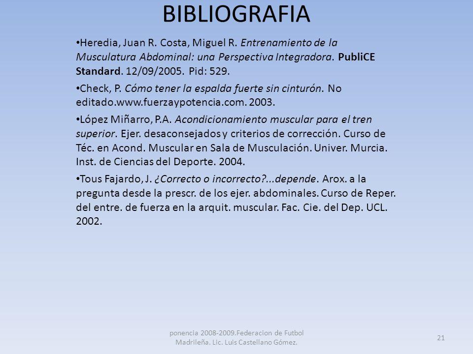 BIBLIOGRAFIA Heredia, Juan R. Costa, Miguel R. Entrenamiento de la Musculatura Abdominal: una Perspectiva Integradora. PubliCE Standard. 12/09/2005. P