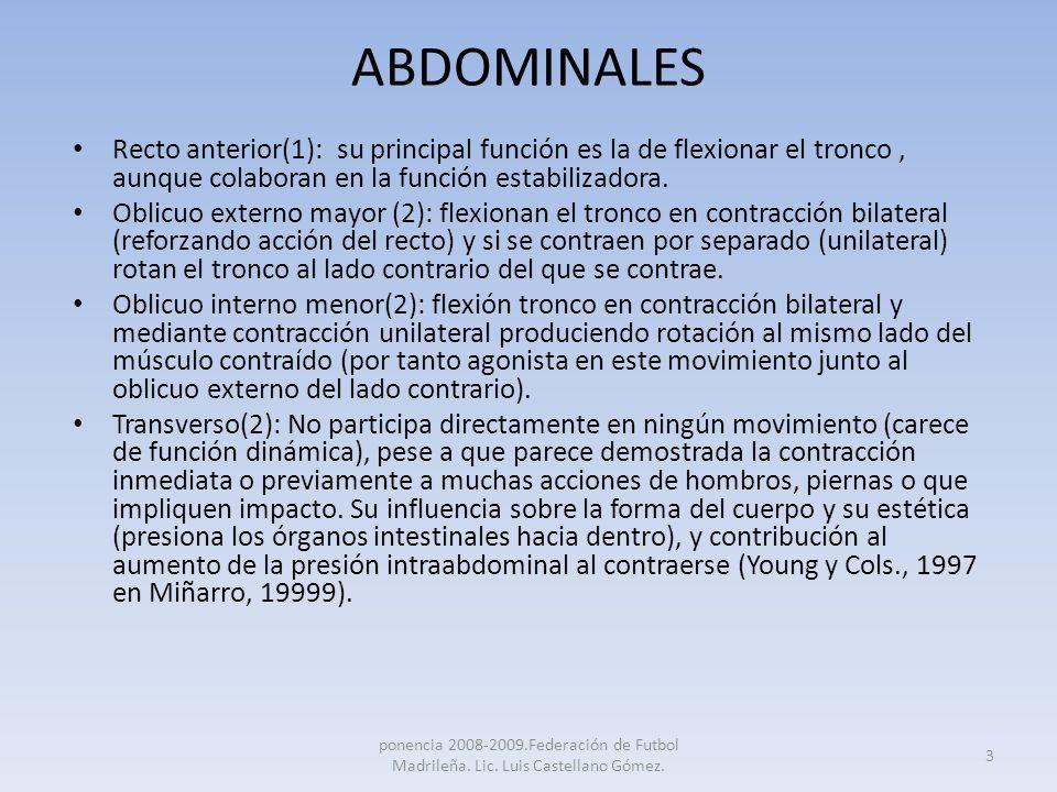 ABDOMINALES Recto anterior(1): su principal función es la de flexionar el tronco, aunque colaboran en la función estabilizadora. Oblicuo externo mayor