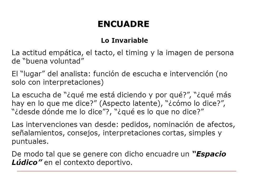 ENCUADRE Lo Invariable La actitud empática, el tacto, el timing y la imagen de persona de buena voluntad El lugar del analista: función de escucha e i