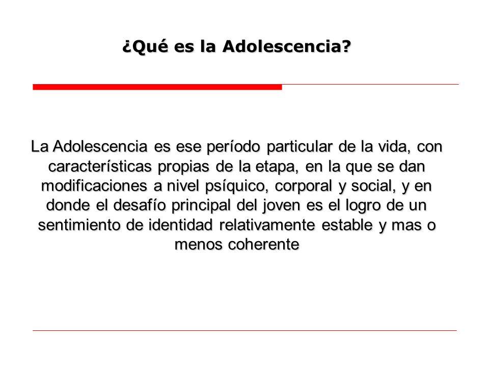 La Adolescencia es ese período particular de la vida, con características propias de la etapa, en la que se dan modificaciones a nivel psíquico, corpo