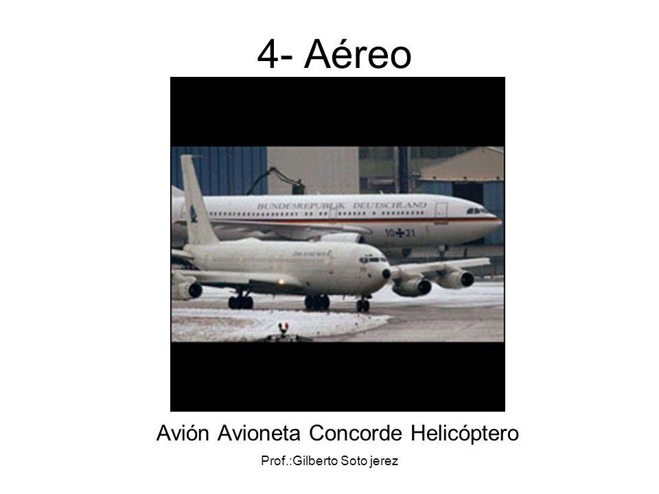 Prof.:Gilberto Soto jerez 4- Aéreo Avión Avioneta Concorde Helicóptero
