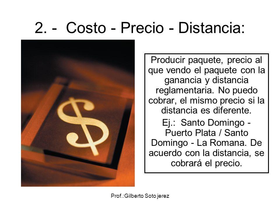Prof.:Gilberto Soto jerez 2. - Costo - Precio - Distancia: Producir paquete, precio al que vendo el paquete con la ganancia y distancia reglamentaria.