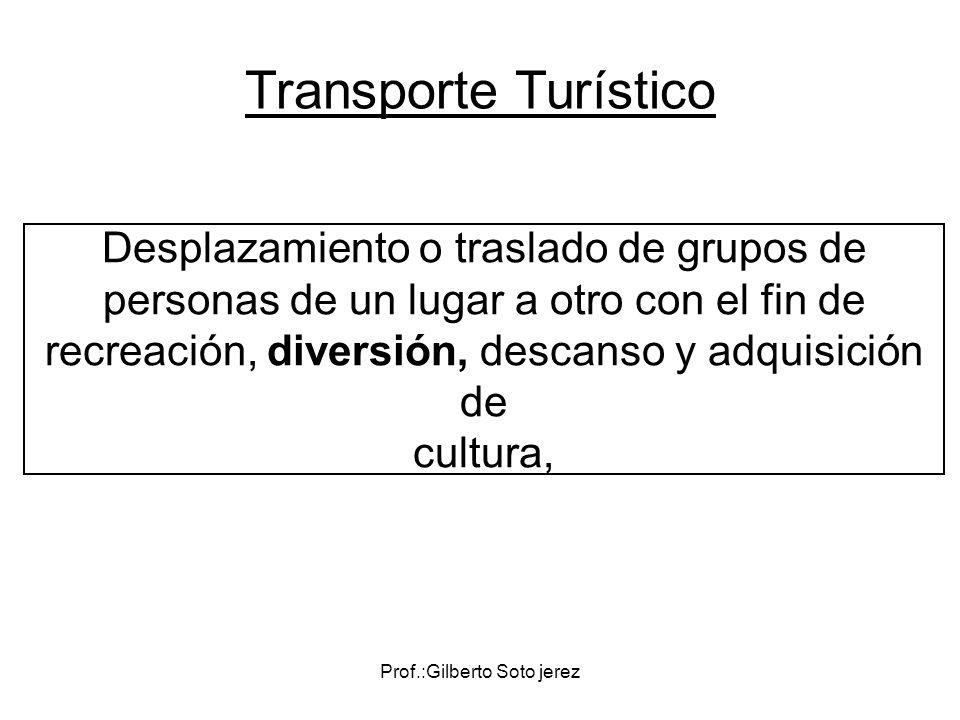 Prof.:Gilberto Soto jerez Desplazamiento o traslado de grupos de personas de un lugar a otro con el fin de recreación, diversión, descanso y adquisici