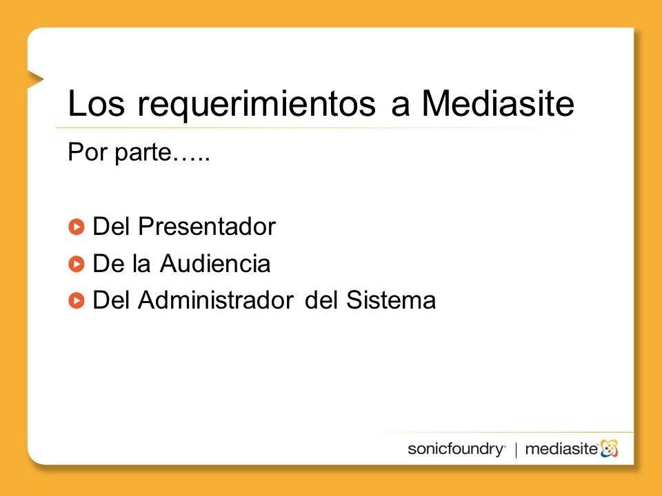 Los requerimientos a Mediasite Por parte…..