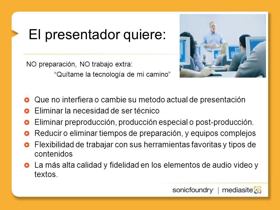El presentador quiere: Que no interfiera o cambie su metodo actual de presentación Eliminar la necesidad de ser técnico Eliminar preproducción, producción especial o post-producción.