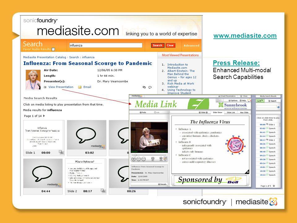 www.mediasite.com Press Release: Press Release: Enhanced Multi-modal Search Capabilities