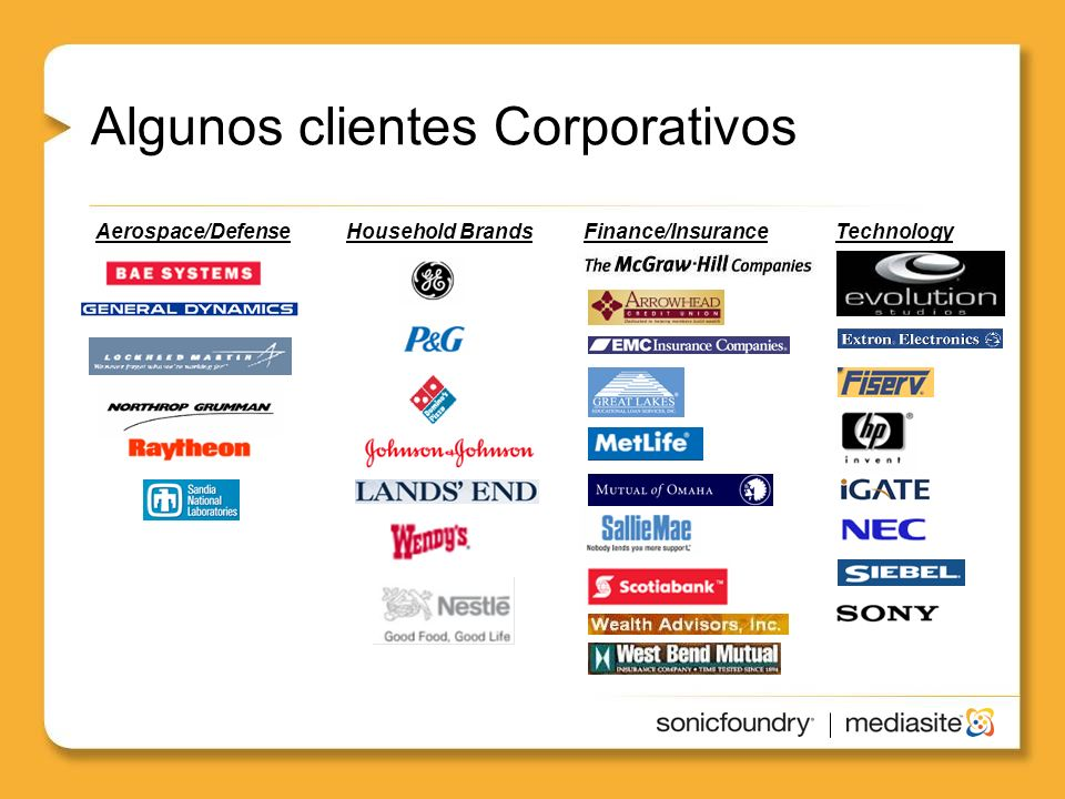 Healthcare Algunos clientes Corporativos Household BrandsAerospace/DefenseFinance/InsuranceTechnology