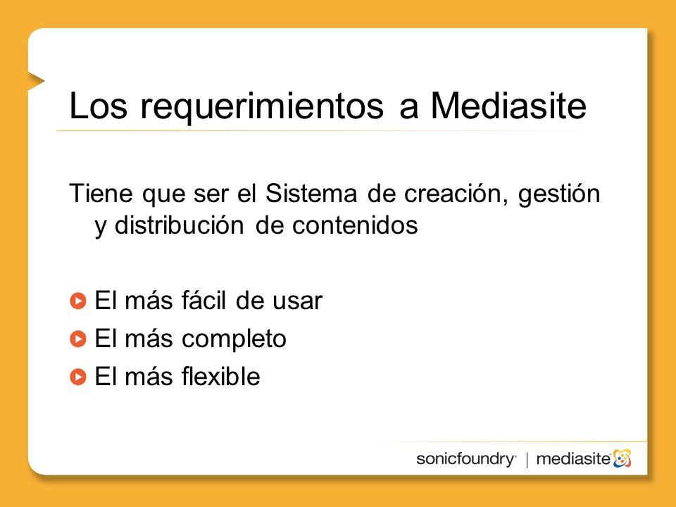 Los requerimientos a Mediasite Tiene que ser el Sistema de creación, gestión y distribución de contenidos El más fácil de usar El más completo El más flexible