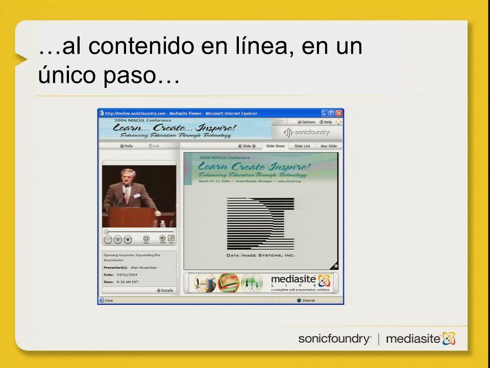 …al contenido en línea, en un único paso…