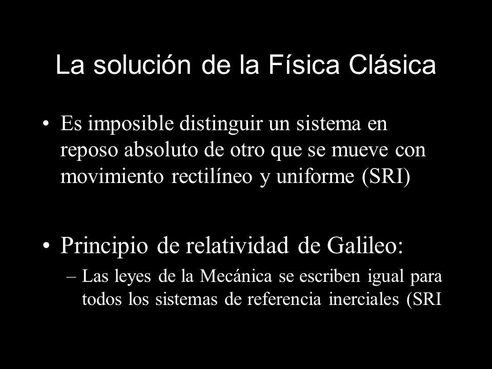 La solución de la Física Clásica Es imposible distinguir un sistema en reposo absoluto de otro que se mueve con movimiento rectilíneo y uniforme (SRI)