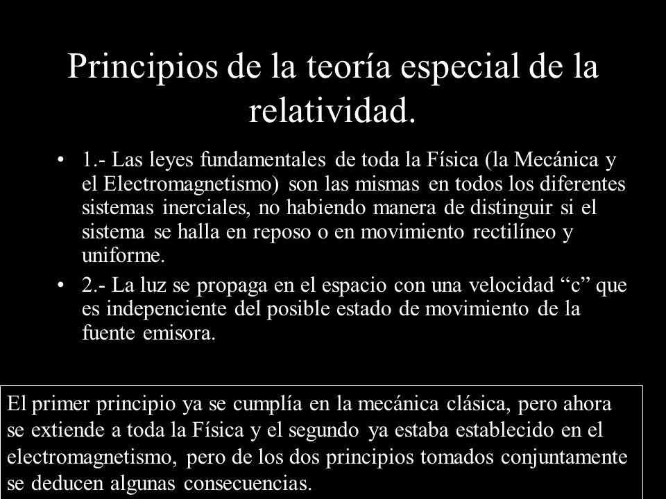 Principios de la teoría especial de la relatividad. 1.- Las leyes fundamentales de toda la Física (la Mecánica y el Electromagnetismo) son las mismas