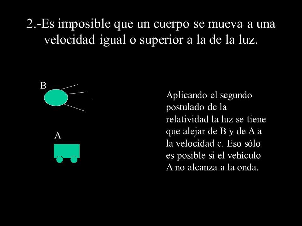 2.-Es imposible que un cuerpo se mueva a una velocidad igual o superior a la de la luz. B A Aplicando el segundo postulado de la relatividad la luz se