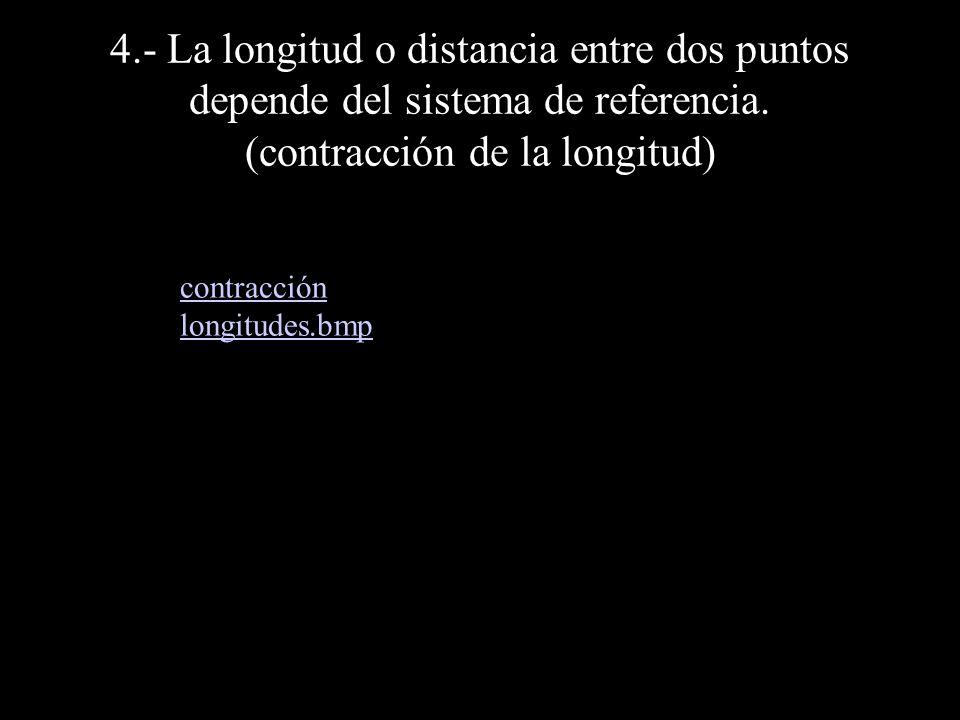 4.- La longitud o distancia entre dos puntos depende del sistema de referencia. (contracción de la longitud) contracción longitudes.bmp