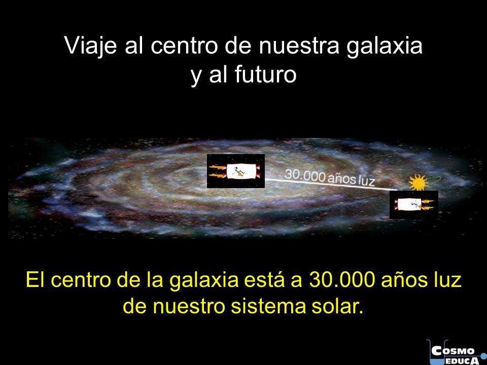 Viaje al centro de nuestra galaxia y al futuro El centro de la galaxia está a 30.000 años luz de nuestro sistema solar.