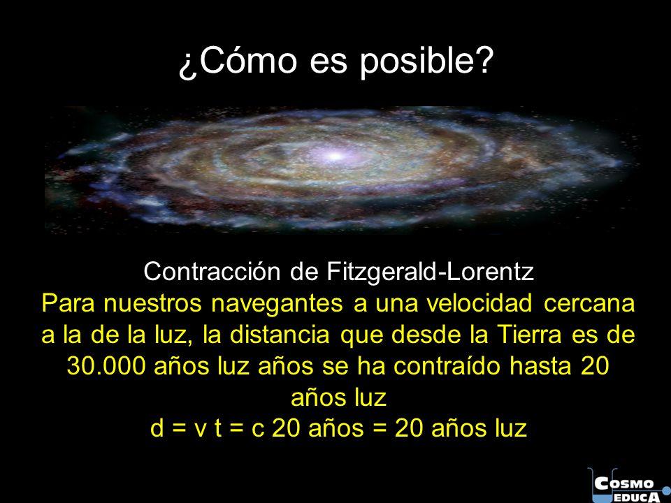 Contracción de Fitzgerald-Lorentz Para nuestros navegantes a una velocidad cercana a la de la luz, la distancia que desde la Tierra es de 30.000 años