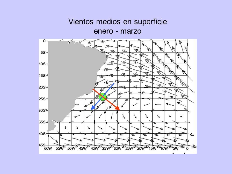 Vientos medios en superficie enero - marzo