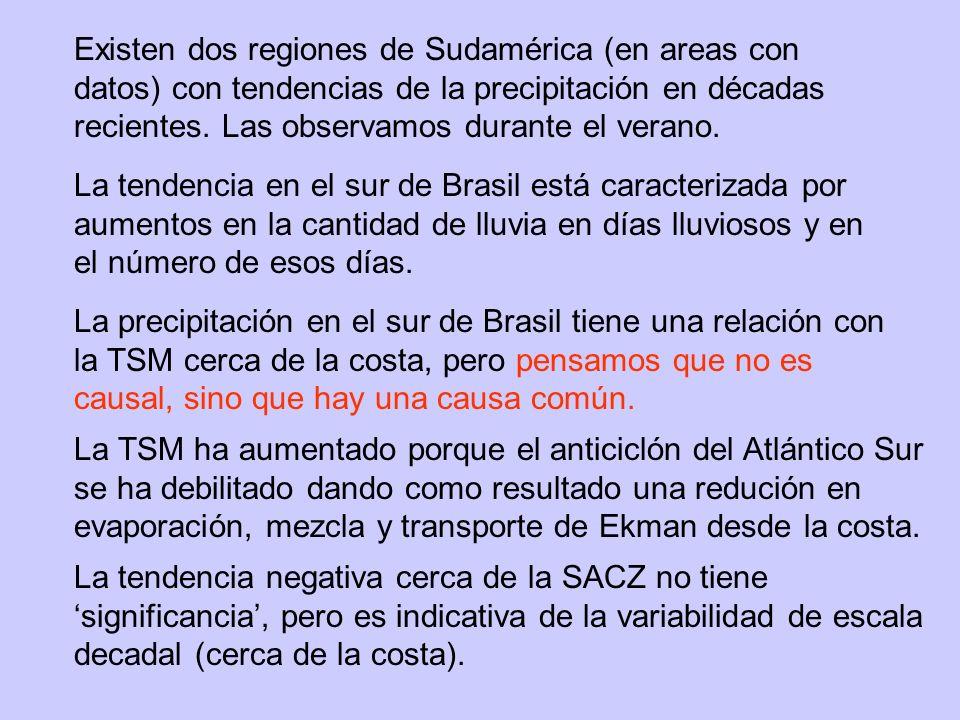 Existen dos regiones de Sudamérica (en areas con datos) con tendencias de la precipitación en décadas recientes.