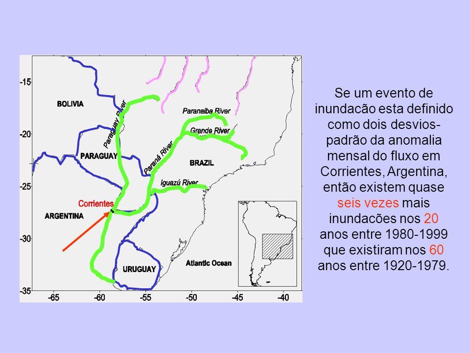 Pendiente: 1976 - 1999 = 0.045 C/año 1948 - 1975 = 0.022 1948 - 1999 = 0.022 Pendiente: 1976 - 1999 = 49.2 m 3 /s/año 1948 - 1975 = 20.2 1948 - 1999 = 17.2 TSM en el Atlántico sudoesteenero - marzo Río Iguazu Season rainfall (mm/yr) Jan-Mar SST (C)