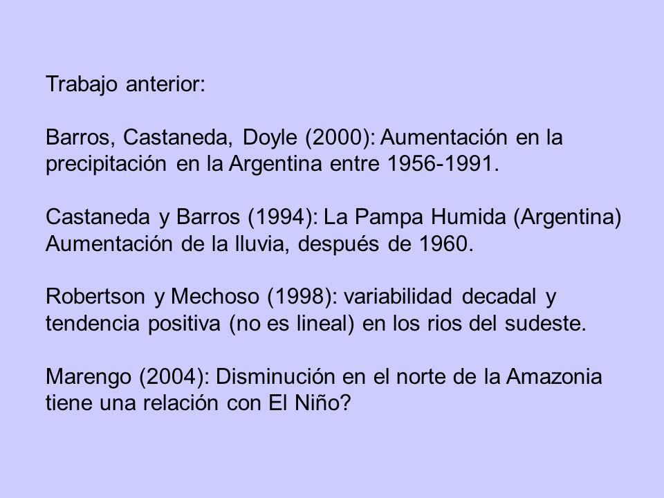 Trabajo anterior: Barros, Castaneda, Doyle (2000): Aumentación en la precipitación en la Argentina entre 1956-1991.