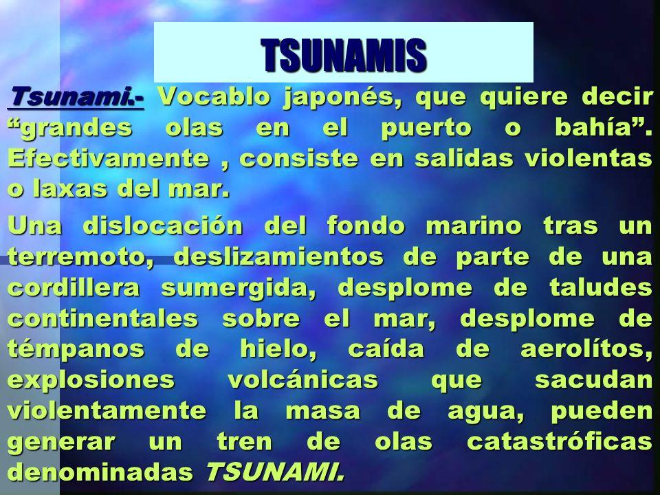 TSUNAMIS Tsunami.- Vocablo japonés, que quiere decir grandes olas en el puerto o bahía. Efectivamente, consiste en salidas violentas o laxas del mar.