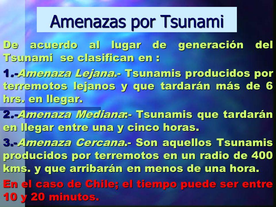 Amenazas por Tsunami De acuerdo al lugar de generación del Tsunami se clasifican en : 1.-Amenaza Lejana.- Tsunamis producidos por terremotos lejanos y