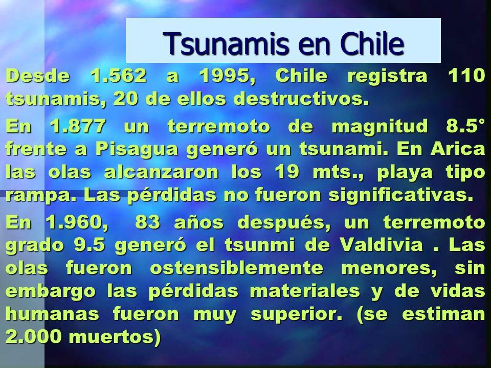 Tsunamis en Chile Desde 1.562 a 1995, Chile registra 110 tsunamis, 20 de ellos destructivos. En 1.877 un terremoto de magnitud 8.5° frente a Pisagua g