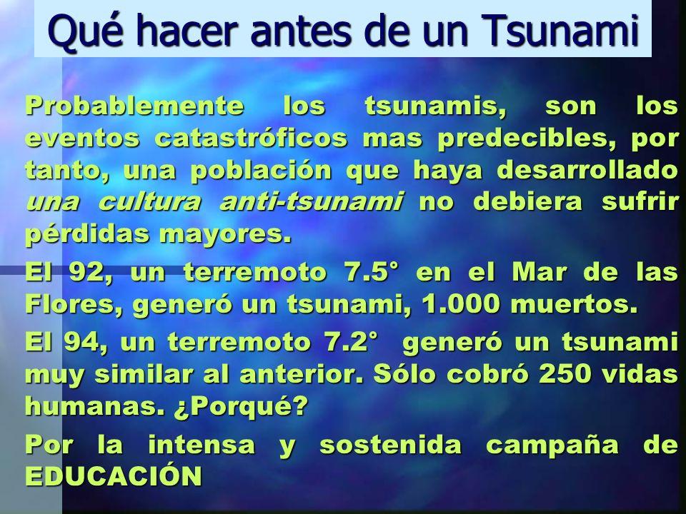 Qué hacer antes de un Tsunami Probablemente los tsunamis, son los eventos catastróficos mas predecibles, por tanto, una población que haya desarrollad