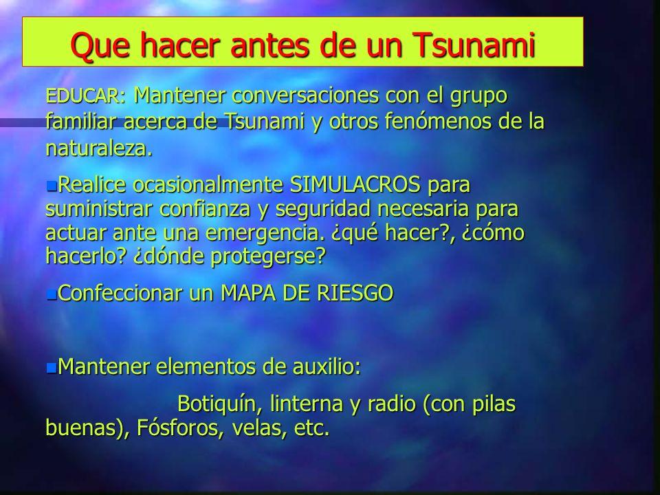 Que hacer antes de un Tsunami EDUCAR: Mantener conversaciones con el grupo familiar acerca de Tsunami y otros fenómenos de la naturaleza. n Realice oc