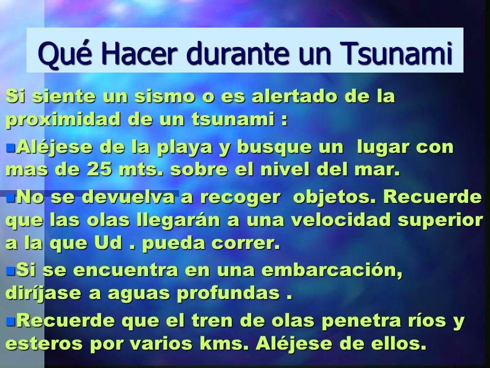 Qué Hacer durante un Tsunami Si siente un sismo o es alertado de la proximidad de un tsunami : n Aléjese de la playa y busque un lugar con mas de 25 m