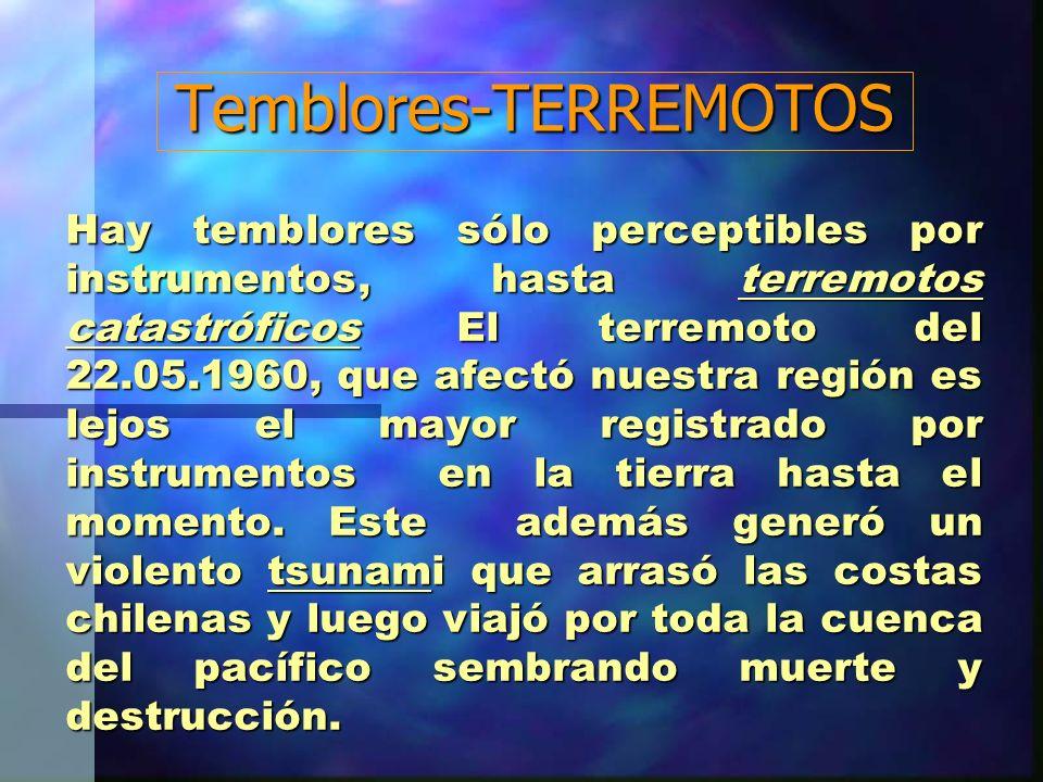 Temblores-TERREMOTOS Hay temblores sólo perceptibles por instrumentos, hasta terremotos catastróficos El terremoto del 22.05.1960, que afectó nuestra