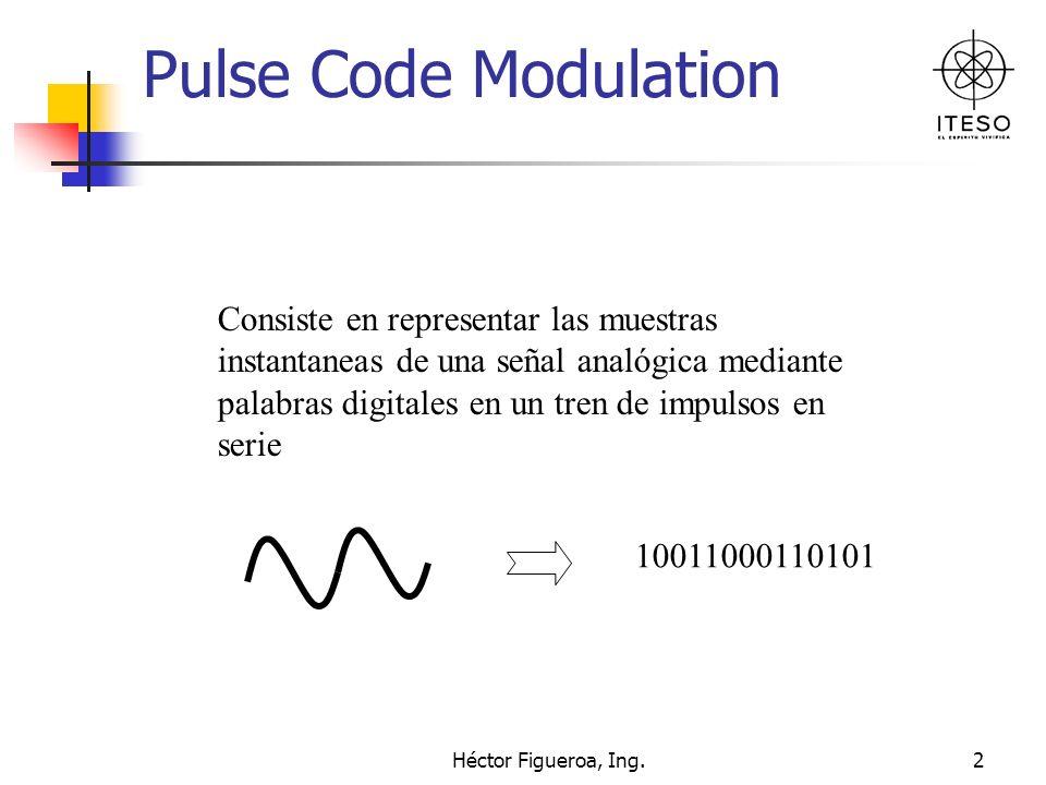 Héctor Figueroa, Ing.13 Velocidad del canal Finalmente si se tienen 8000 muestras por segundo y 8 bits por muestra tenemos Velocidad del Canal = 8000 muestra/seg x 8 Bits/muestra = 64,000Bits/seg.