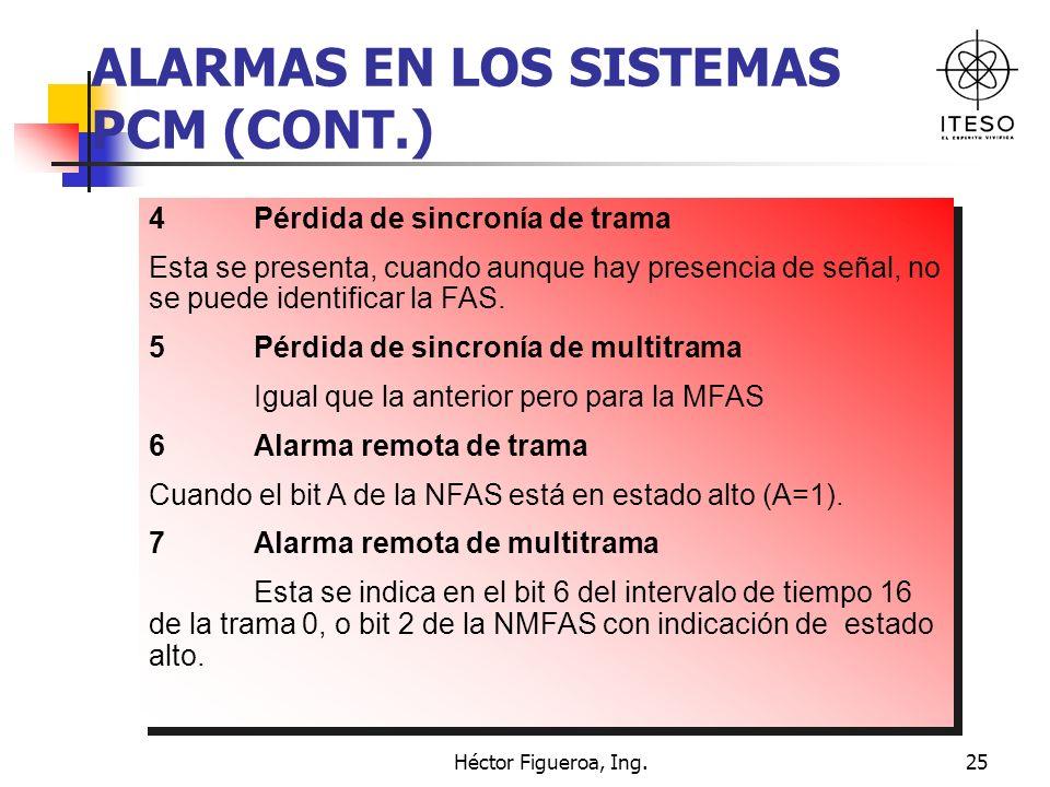 Héctor Figueroa, Ing.25 ALARMAS EN LOS SISTEMAS PCM (CONT.) 4 Pérdida de sincronía de trama Esta se presenta, cuando aunque hay presencia de señal, no