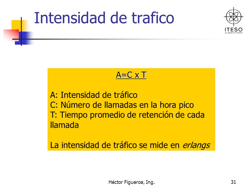 Héctor Figueroa, Ing.31 Intensidad de trafico A=C x T A: Intensidad de tráfico C: Número de llamadas en la hora pico T: Tiempo promedio de retención d