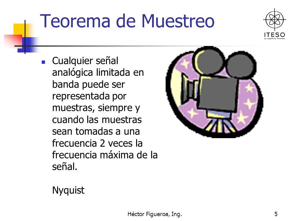 Héctor Figueroa, Ing.5 Teorema de Muestreo Cualquier señal analógica limitada en banda puede ser representada por muestras, siempre y cuando las muest