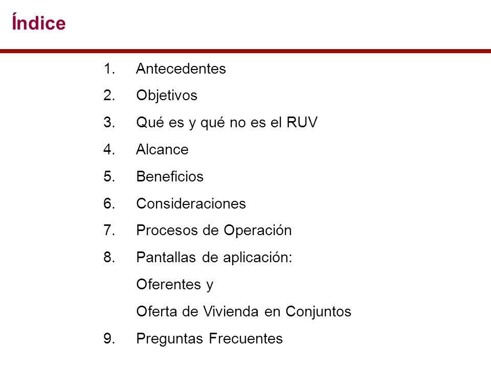 Índice 1.Antecedentes 2.Objetivos 3.Qué es y qué no es el RUV 4.Alcance 5.Beneficios 6.Consideraciones 7.Procesos de Operación 8.Pantallas de aplicación: Oferentes y Oferta de Vivienda en Conjuntos 9.Preguntas Frecuentes